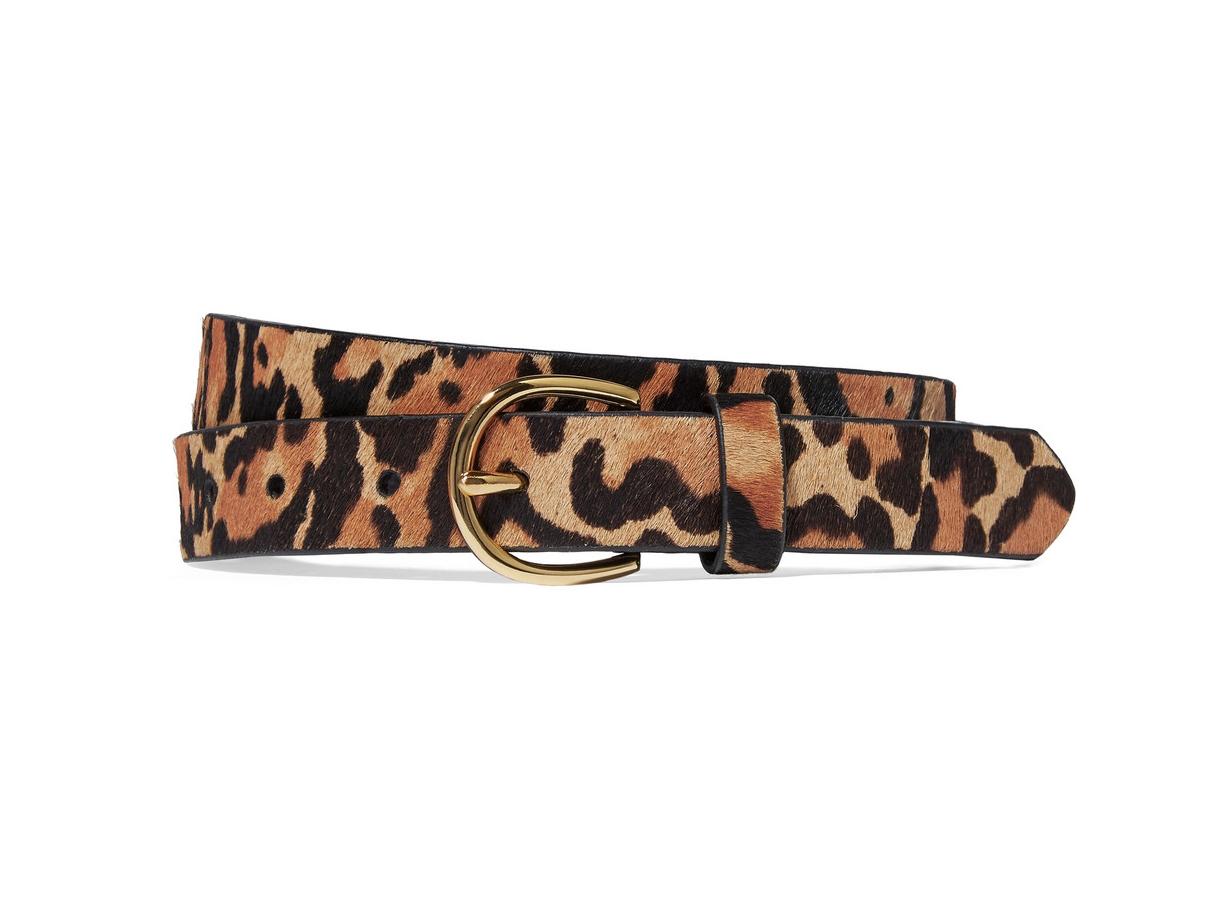 Frame Leopard-print calf hair belt