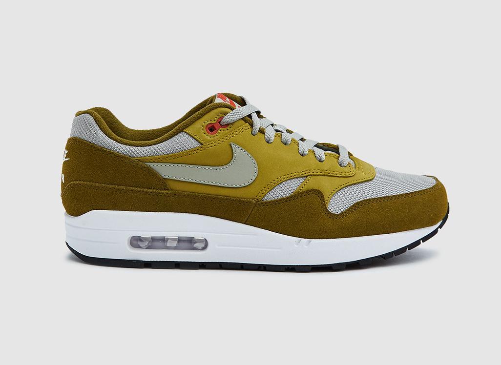 Nike Air Max 1 Premium Retro Sneaker in Olive Flak/Spruce Fog