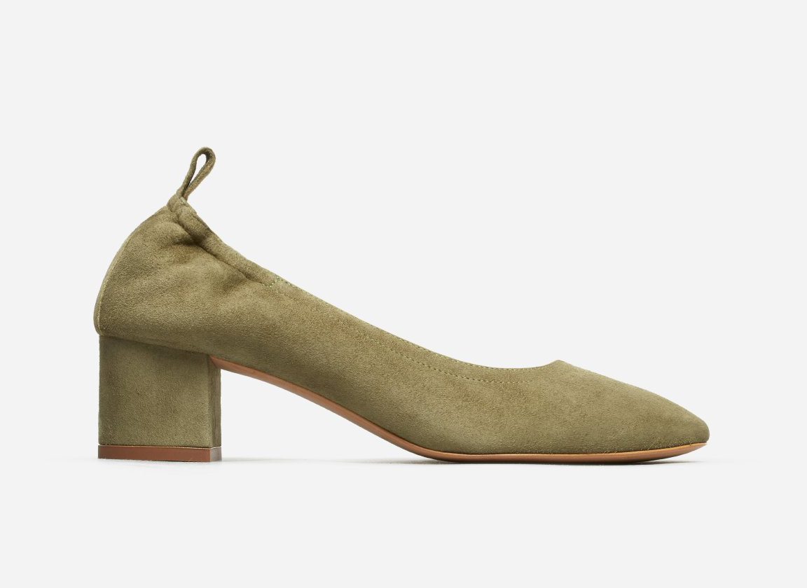 Everlane The Day Heel in Olive Suede