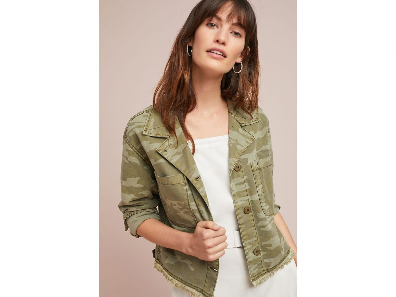 Anthropologie Cropped Camo Jacket