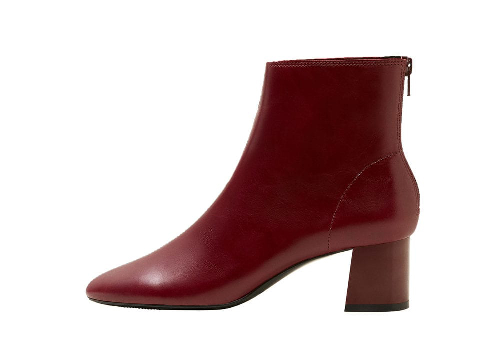 Mango Heel leather ankle boot in wine
