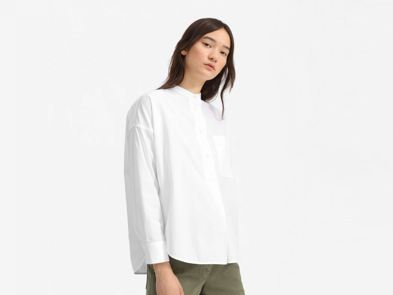 everlane The Poplin Collarless Popover Shirt