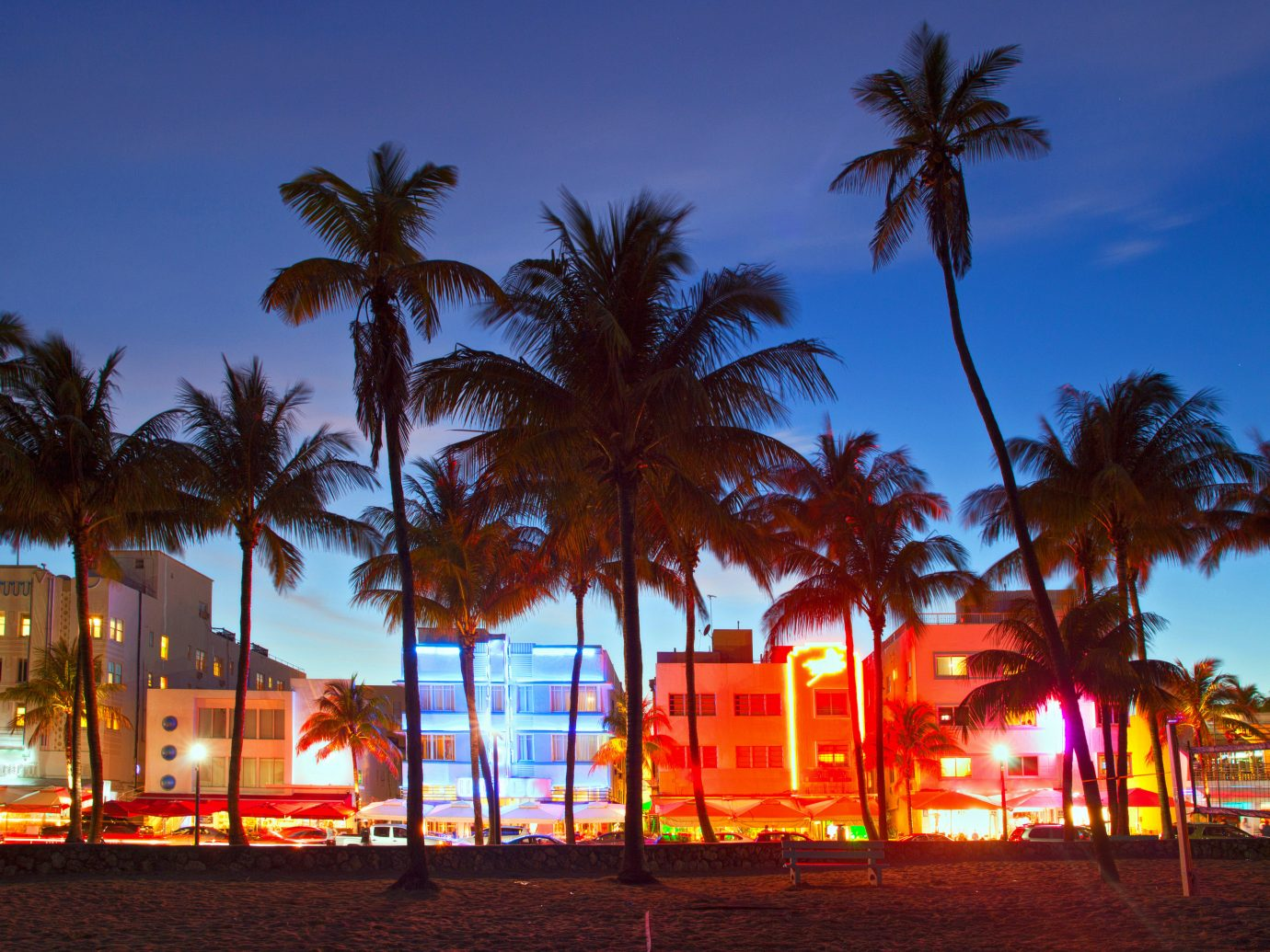 Miami beach strip at night