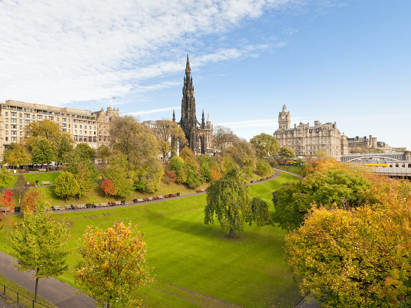 Looking across Princes Street Gardens to the Scott Monument and Balmoral Hotel in the centre of Scotland's capital city, Edinburgh.