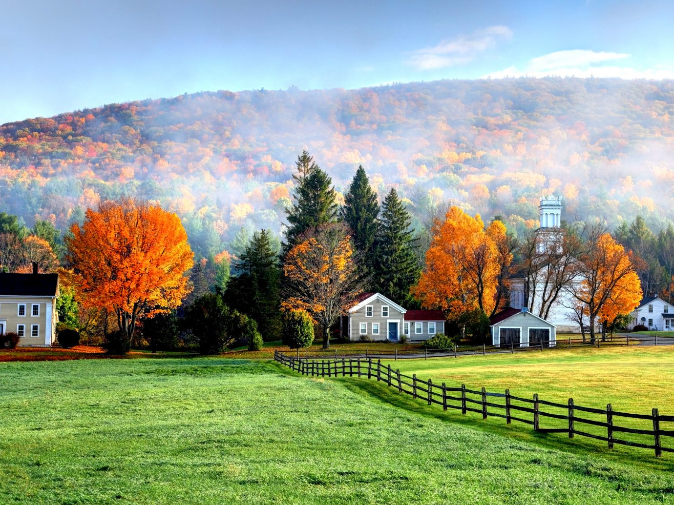Autumn fog in the village of Tyringham in the Berkshires region of Massachusetts