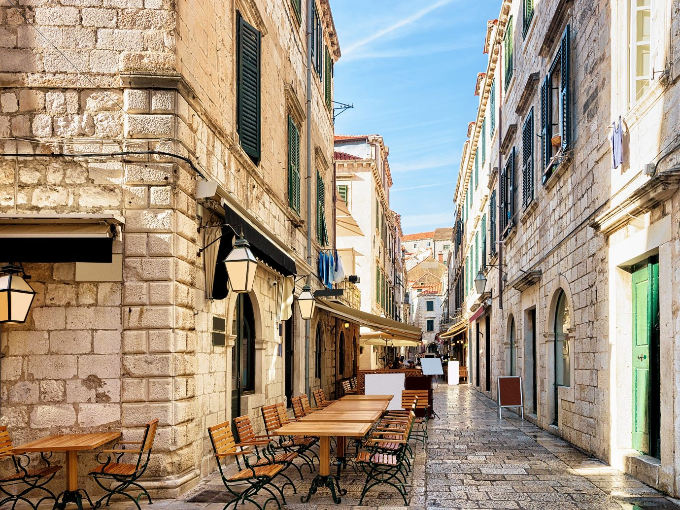 Open Street terrace restaurant in the Old town of Dubrovnik, Croatia