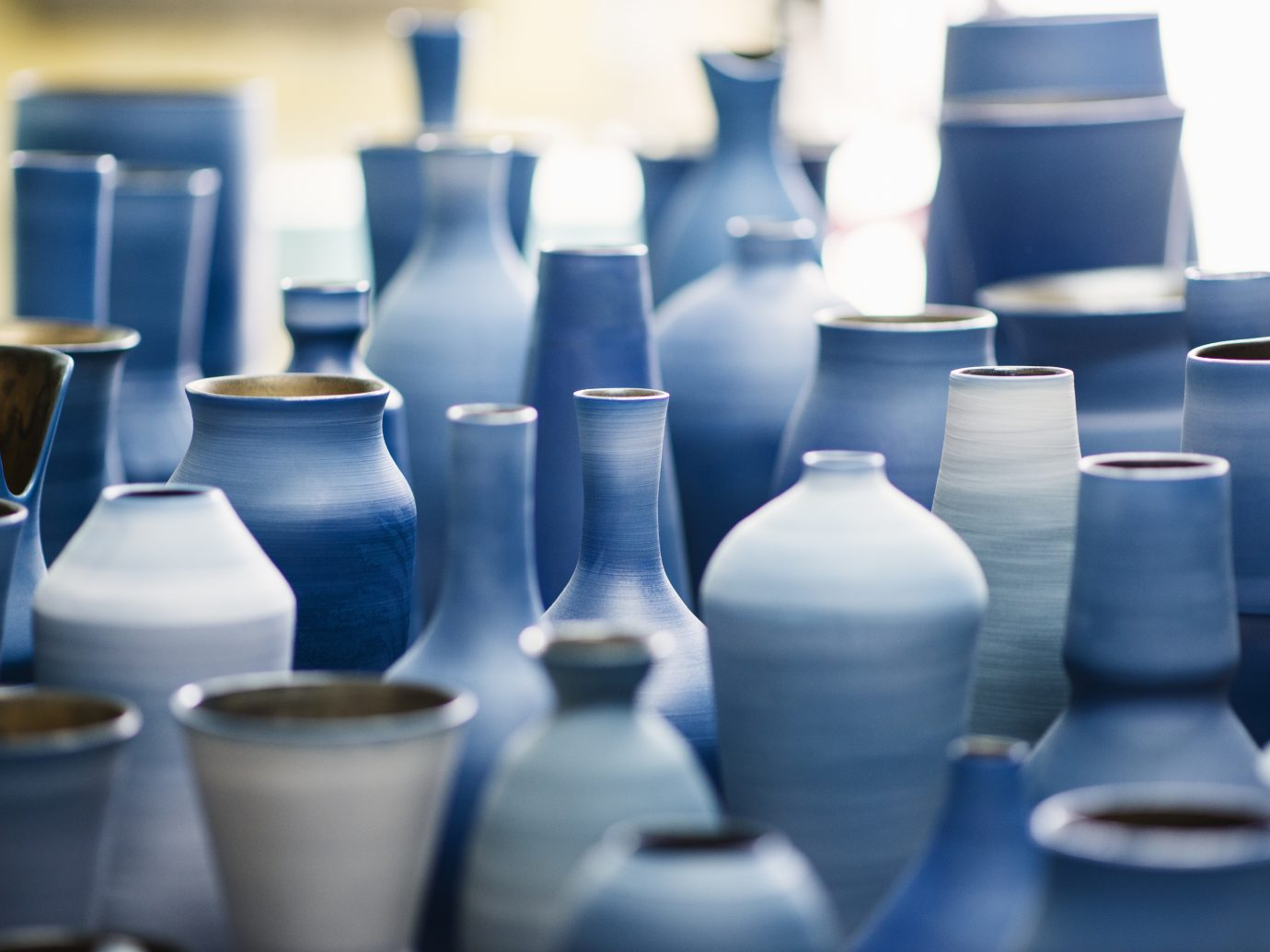 Ceramic pottery in shades of blue