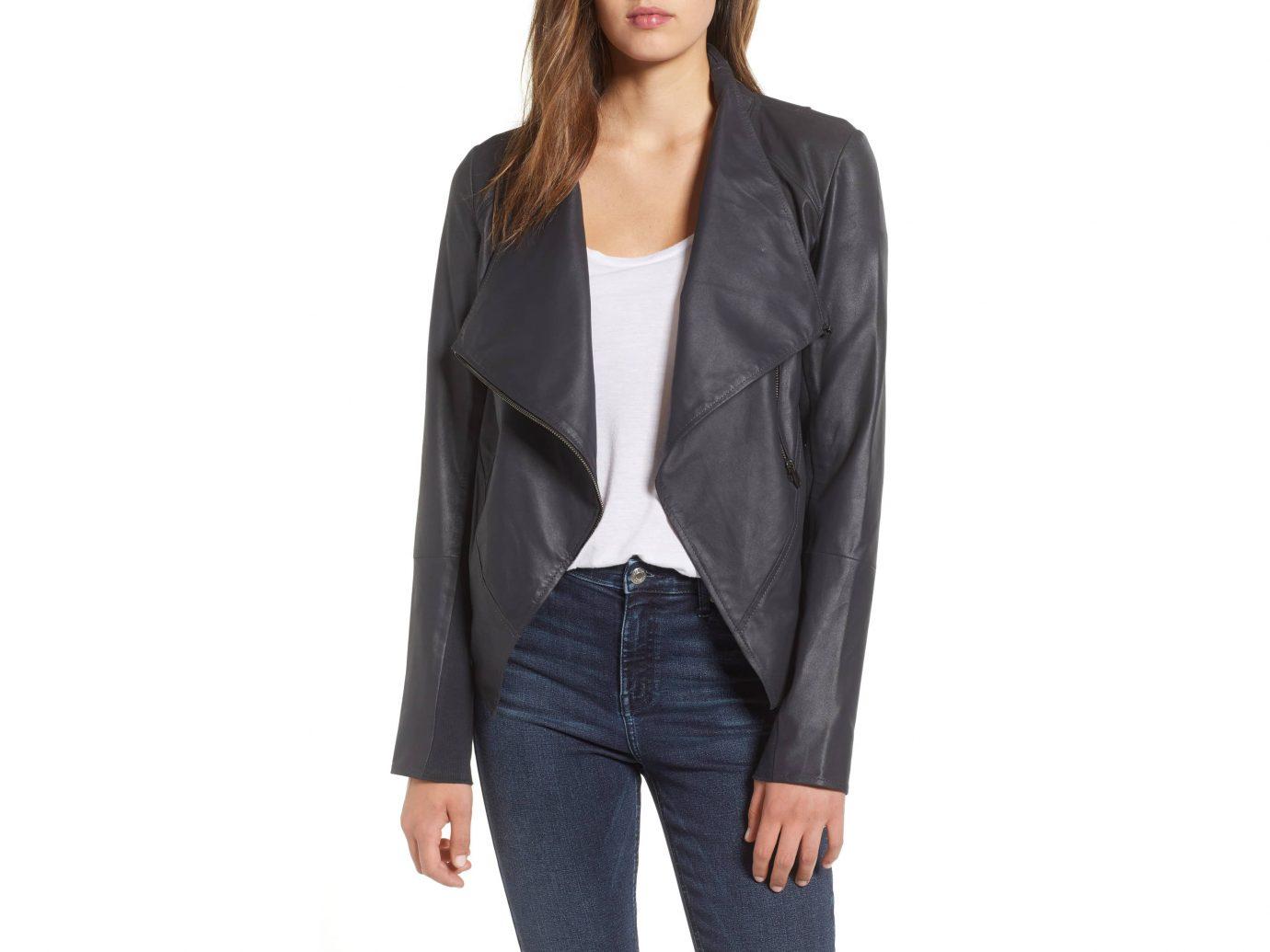 Asymmetrical Zip Front Leather Cascade Jacket