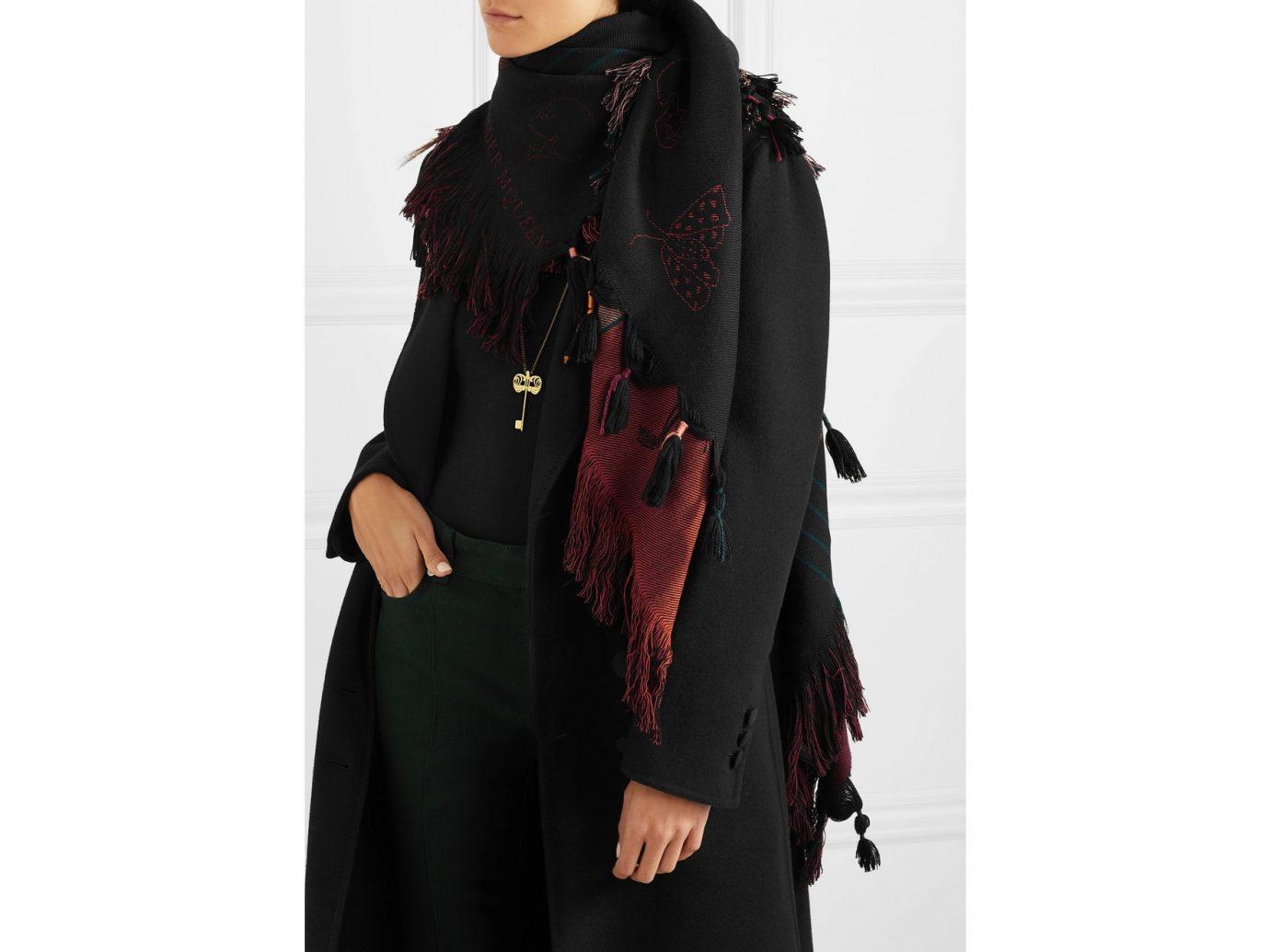 ALEXANDER MCQUEEN Dancing Bones tasseled wool-jacquard scarf