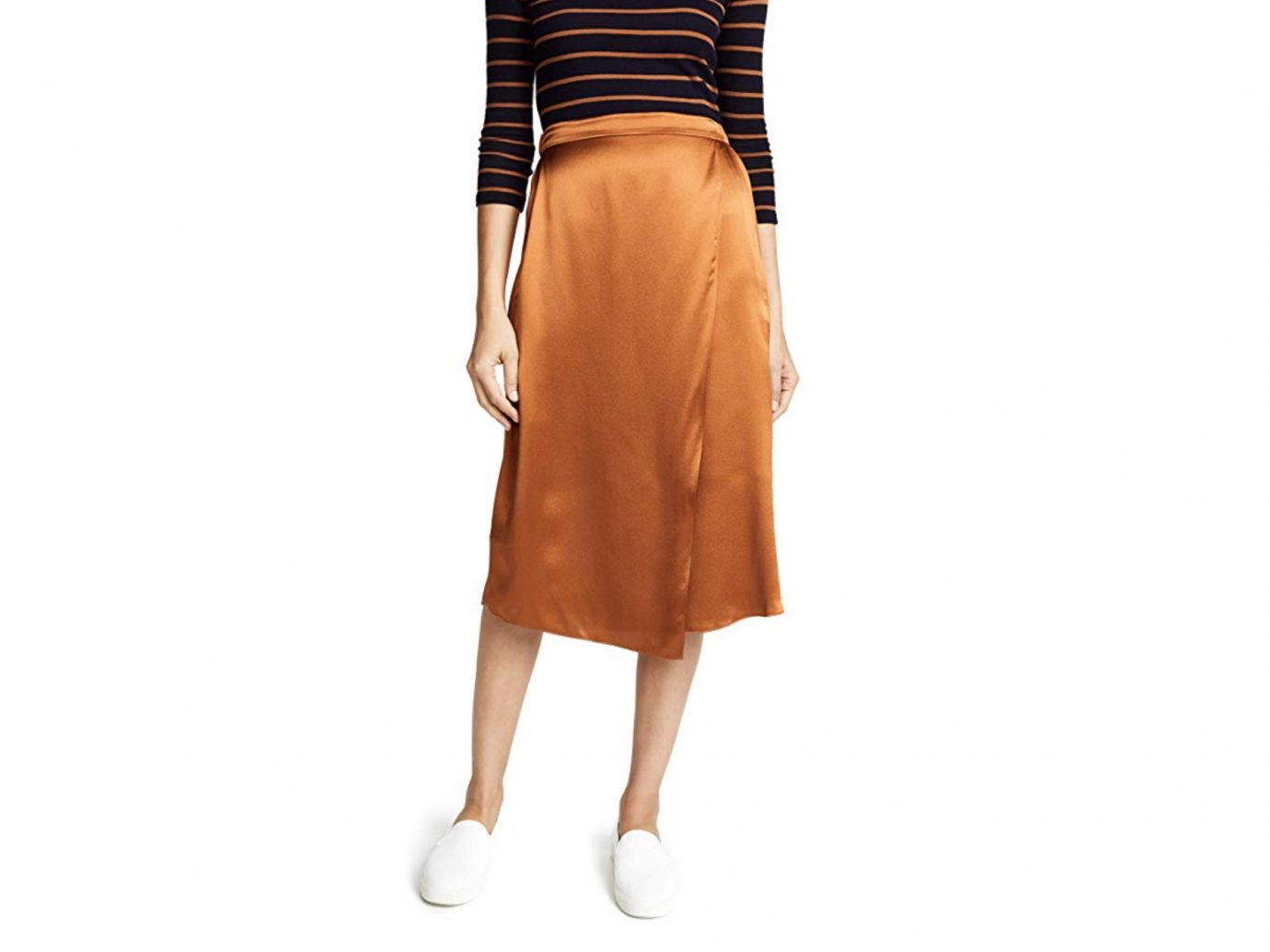 Vince Drape silk midi skirt in rust copper color