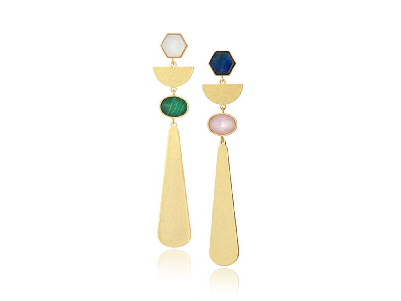 gold and gem Drop Earrings