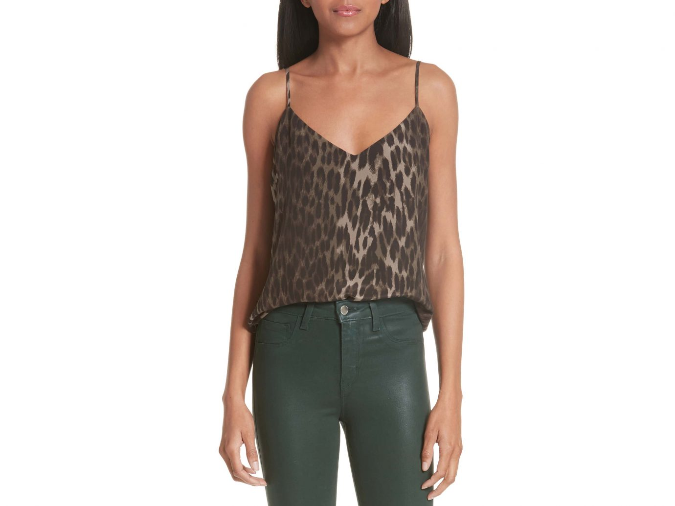 L'Agence Jane Leopard Print Silk camisole