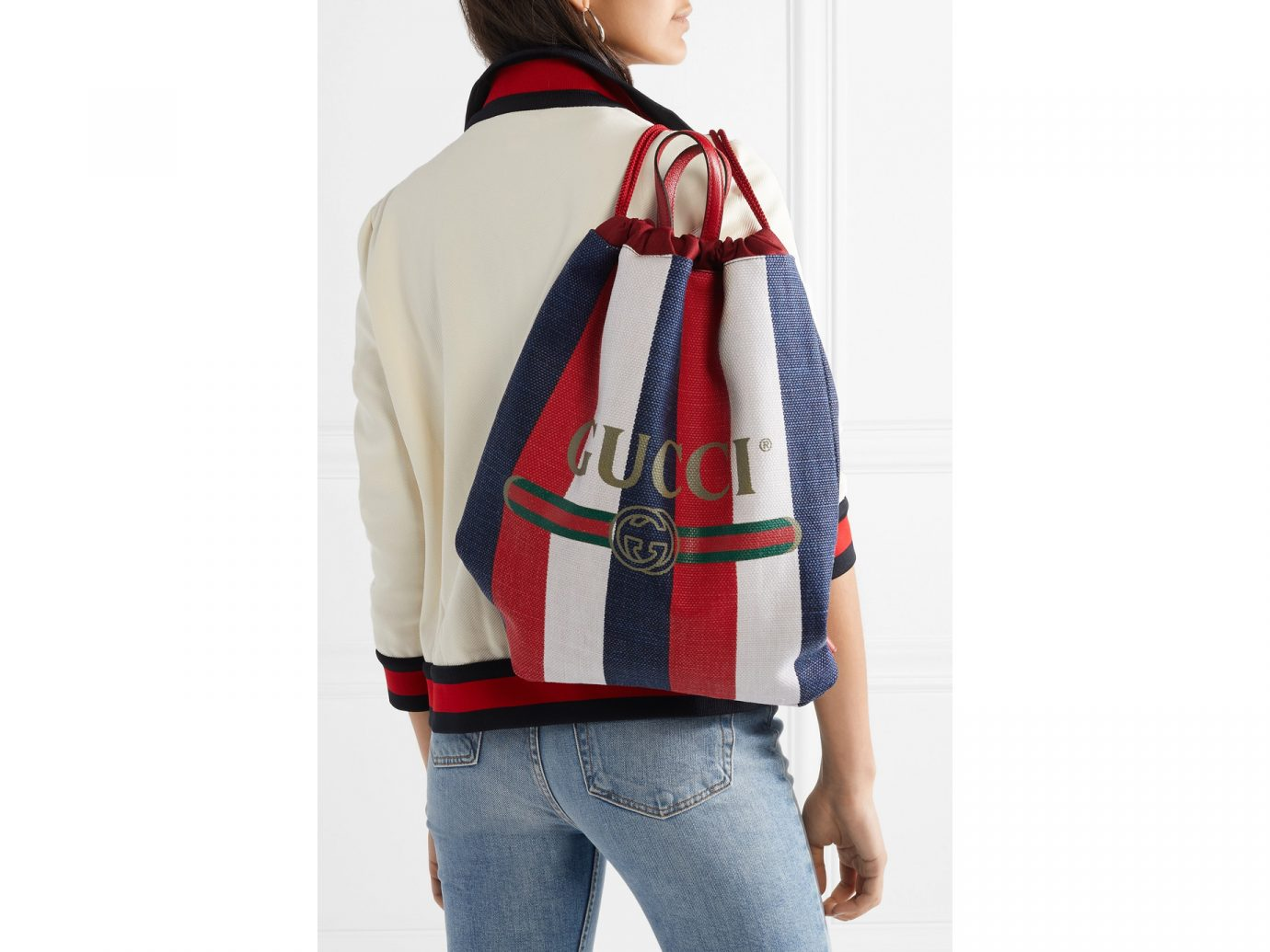 Gucci Leather-trimmed printed canvas backpack