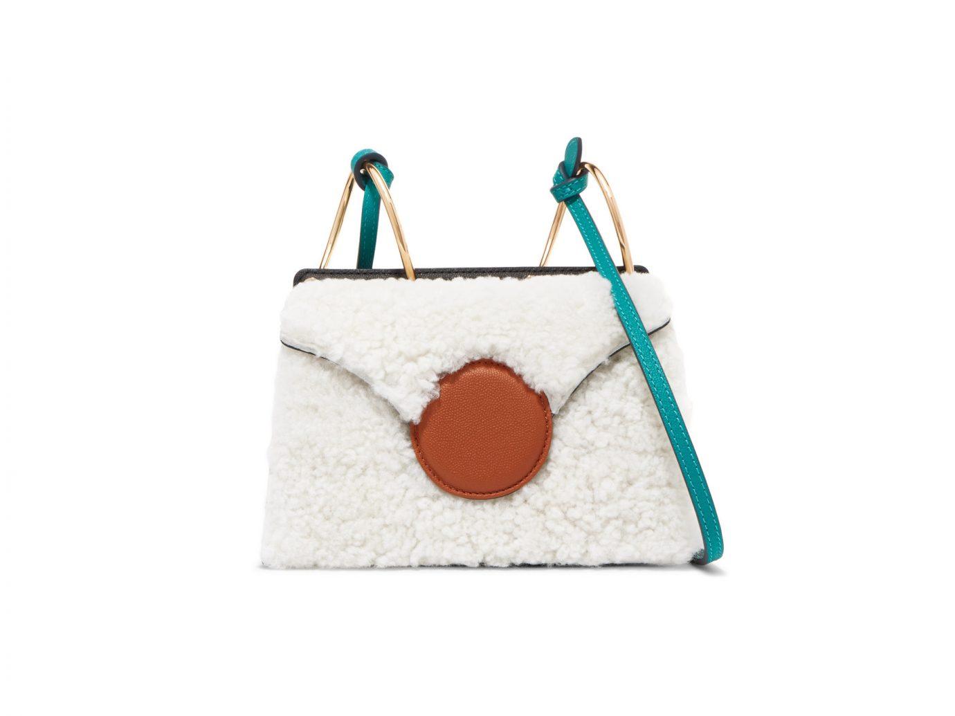 DANSE LENTE Phoebe mini color-block shearling and leather shoulder bag