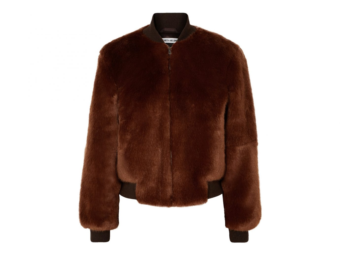 Elizabeth and James Ellington knit-trimmed faux fur bomber jacket