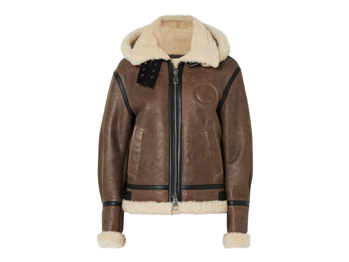 Chloé Shearling-Lined Textured-Leather Jacket