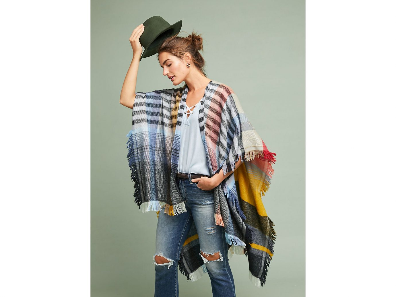 Anthropologie Ruana Plaid Wrap