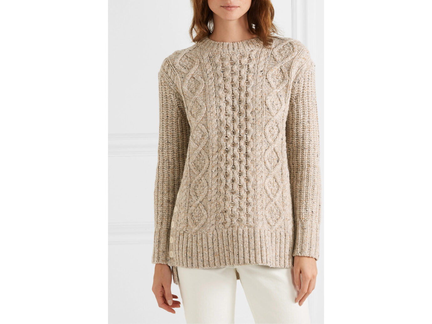 Alex Mill Button-Embellished Cable-Knit