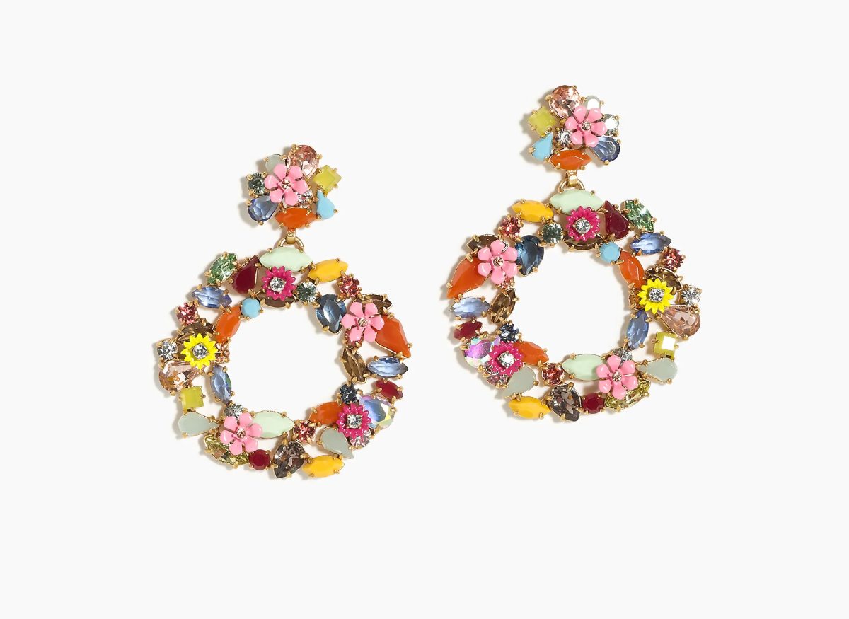 J. Crew Colorful floral hoop earrings