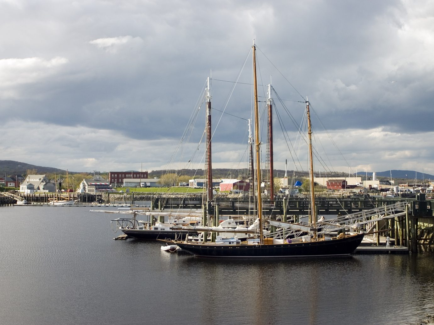 Three masted schooners docked in Rockland Harbor, Maine.