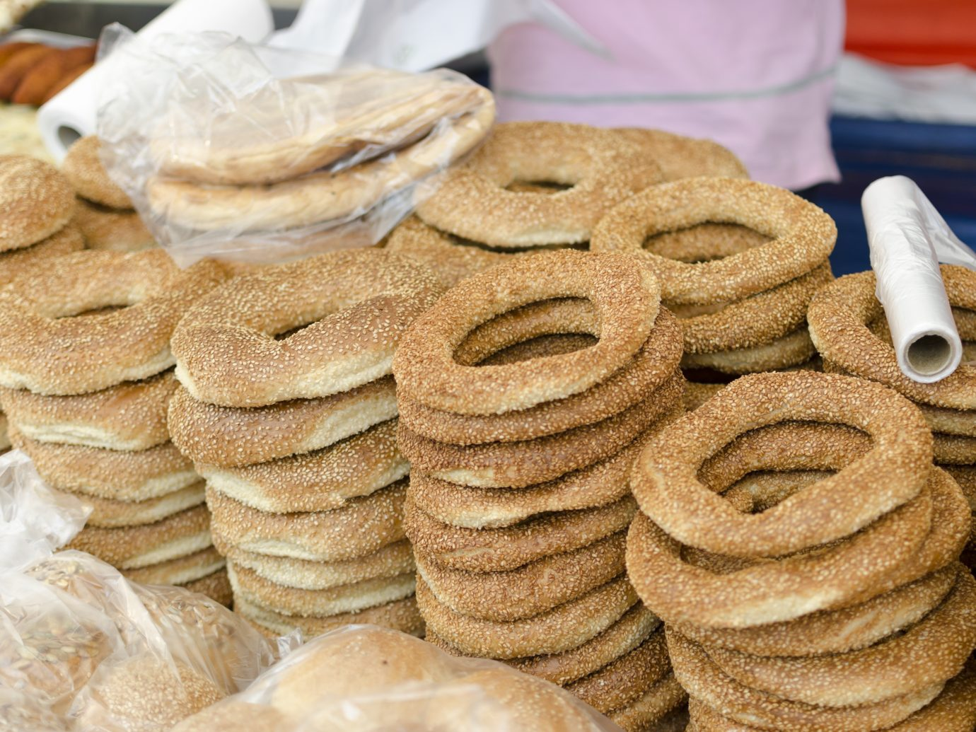 Turkish bagel (simit) sold on a marketplace in Kreuzberg, Berlin.