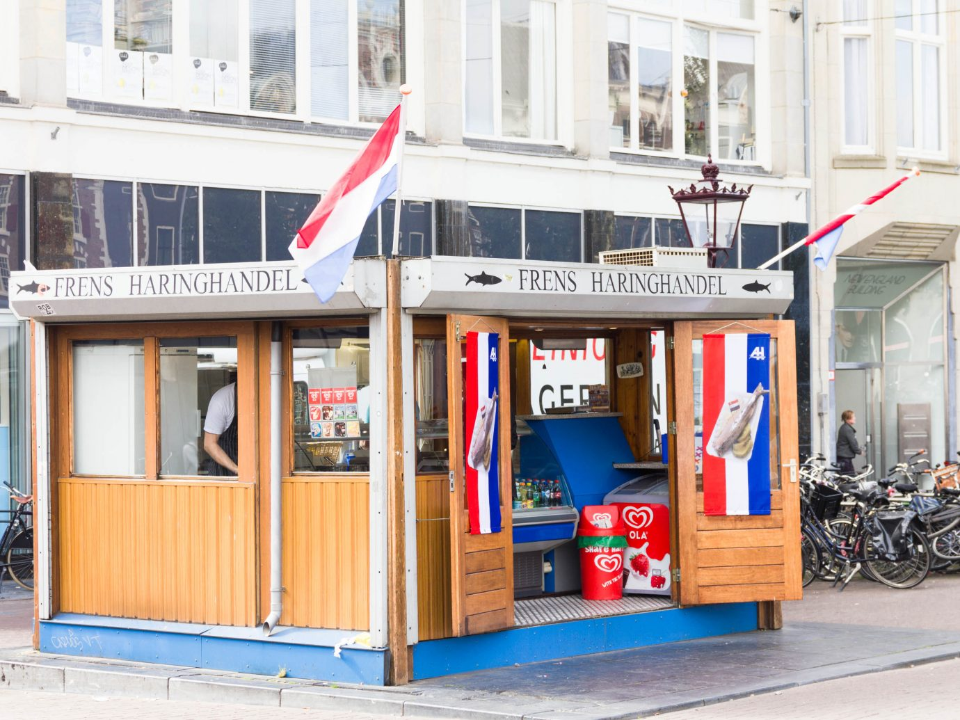Typical Dutch fresh fish stall in the center of Amsterdam