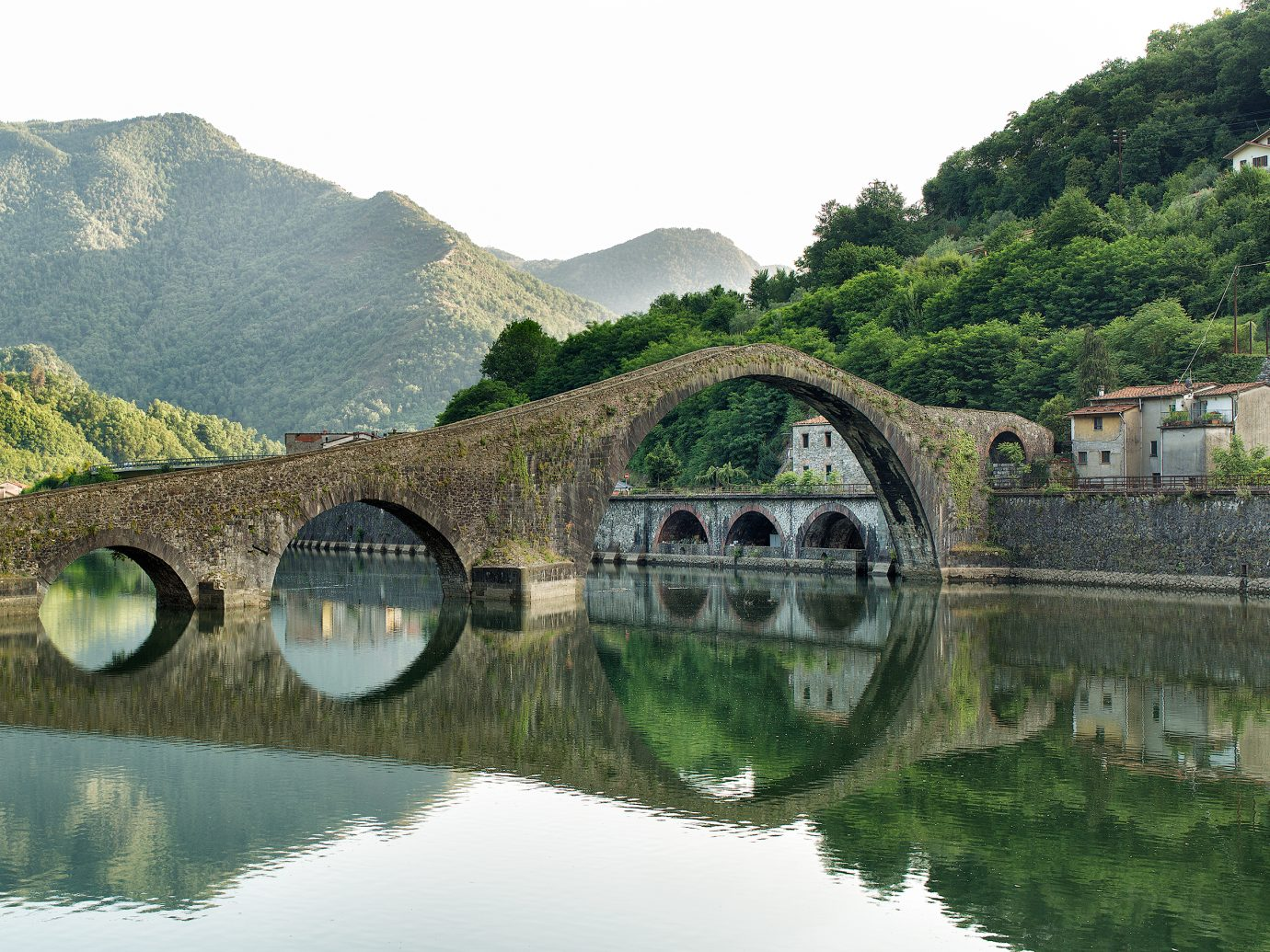 Devils Bridge-Ponte della Maddalena is a bridge crossing the Serchio river near the town of Borgo a Mozzano in the Italian province of Lucca