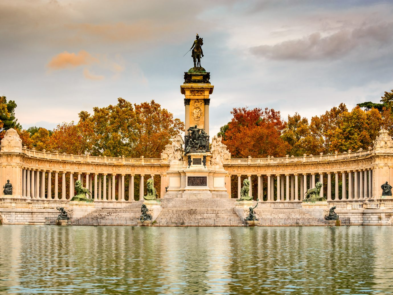 Madrid, Spain. Buen Retiro park, outdoor natural landmark of Spanish capital city.