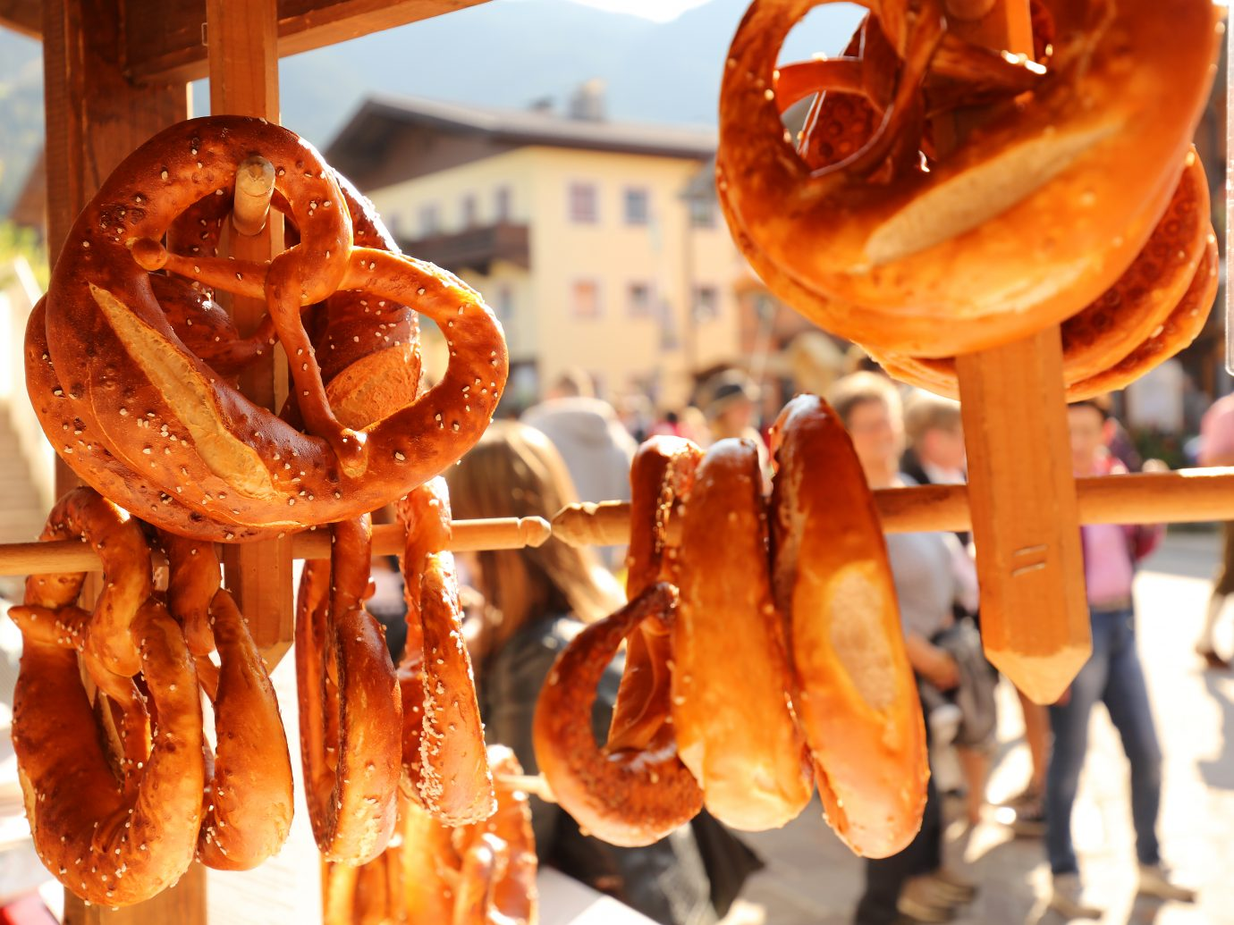 Soft pretzels for sale at a market