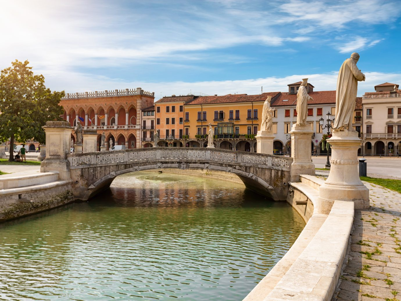 The Prato della Valle Square in Padova, Italy, with it`s canals and bridges