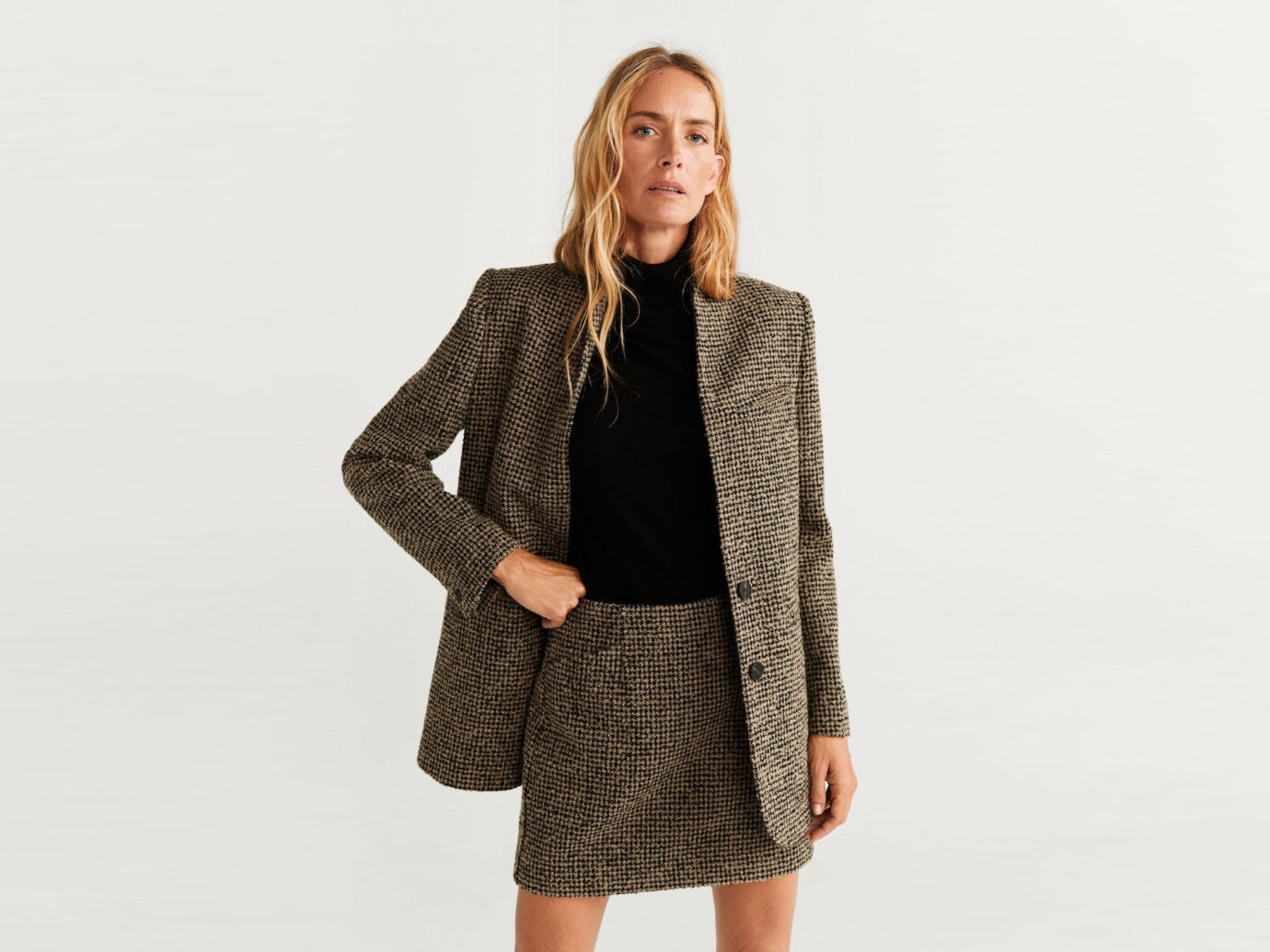 Mango Buttons Tweed Blazer