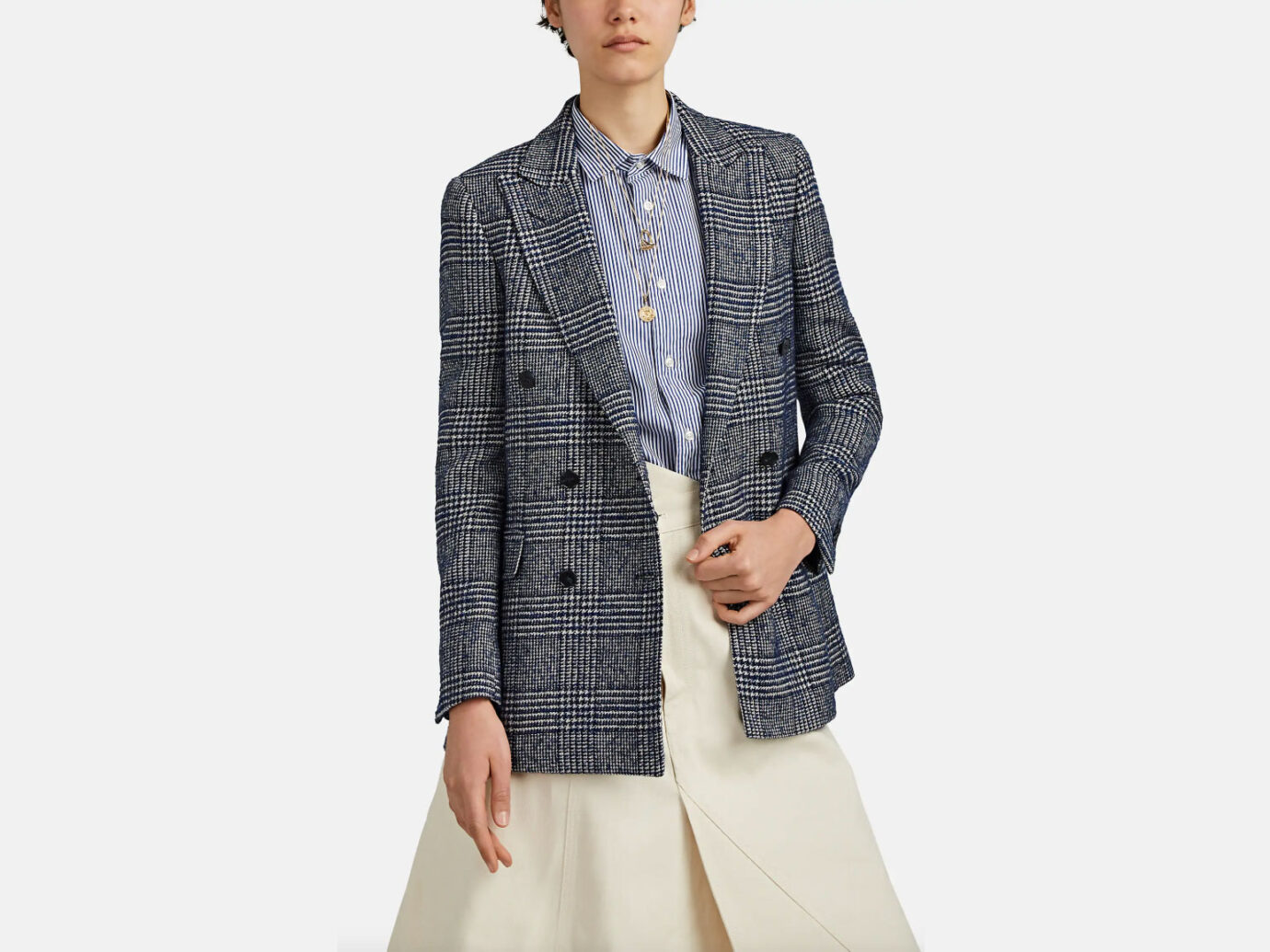 Officine Generale Manon Plaid Wool-Blend Blazer