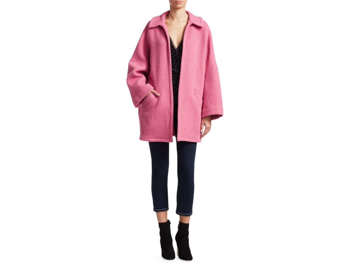 Rachel Comey Husk Open front Chevron wool coat