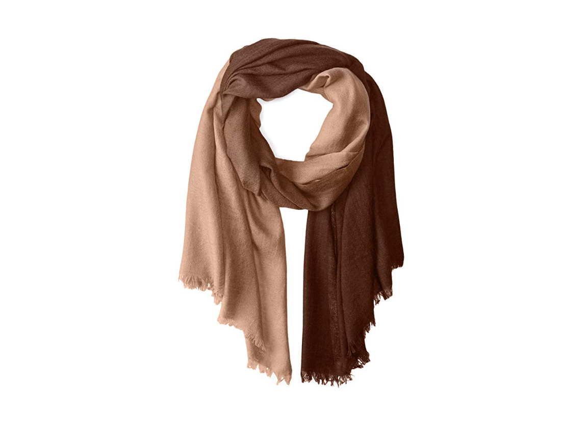 La Fiorentina Women's Cashmere Blend Lightweight Ombre Scarf with Fringe