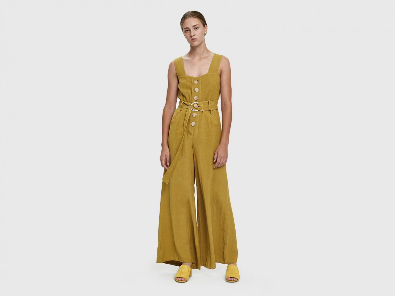 Farrow Willy Buttoned Linen Jumpsuit in Mustard