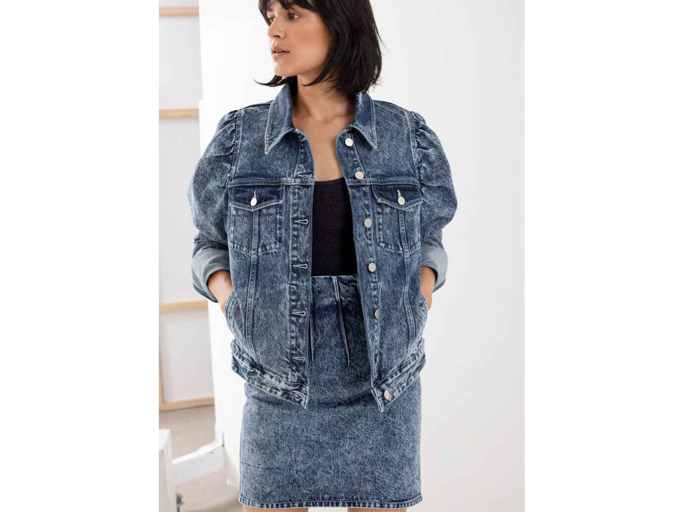 & Other Stories Puff Shoulder Denim Jacket