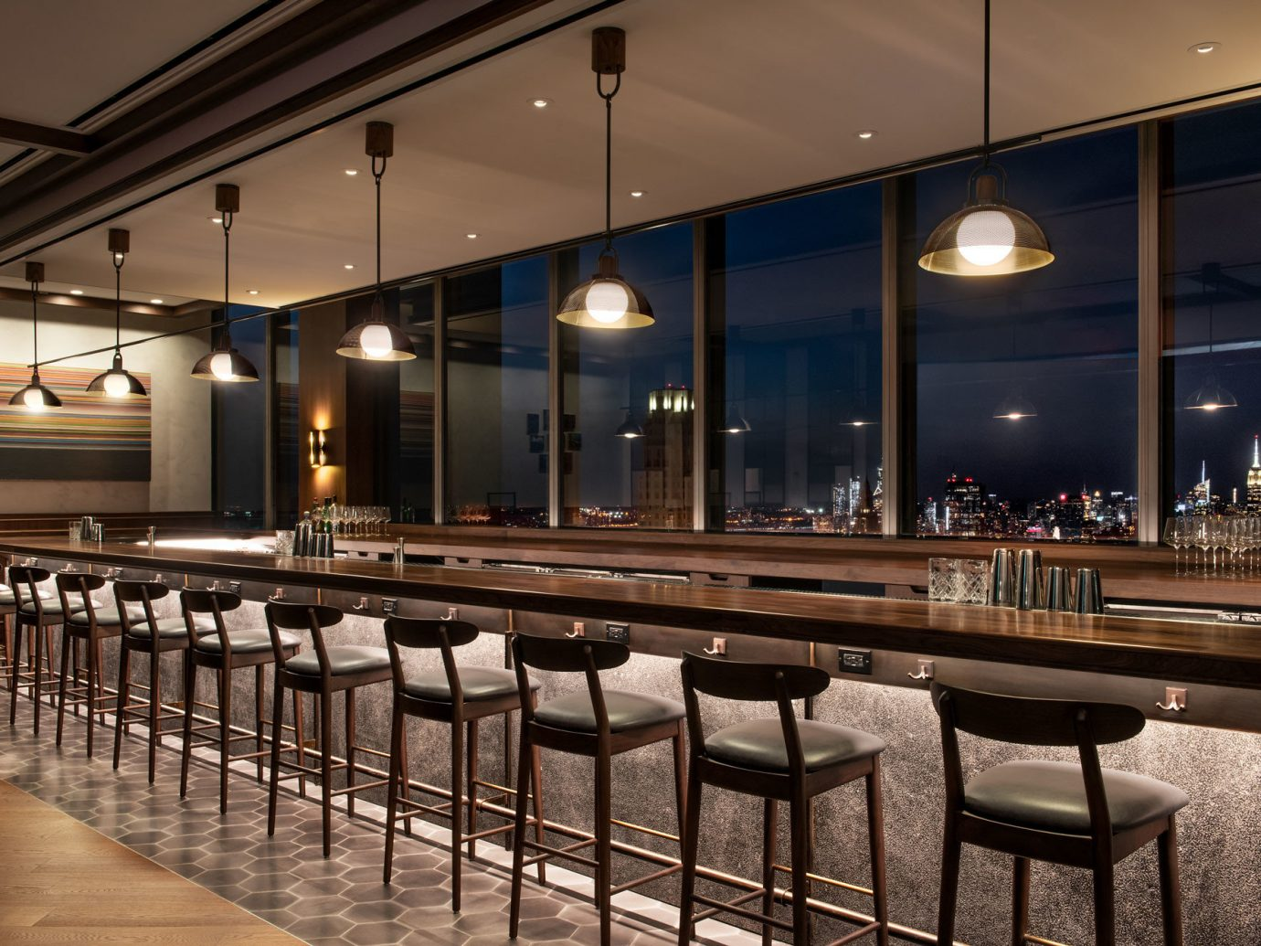 The bar at Manhatta in New York City