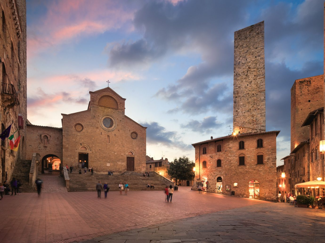 Scenes of San Gimignano, Italy at night