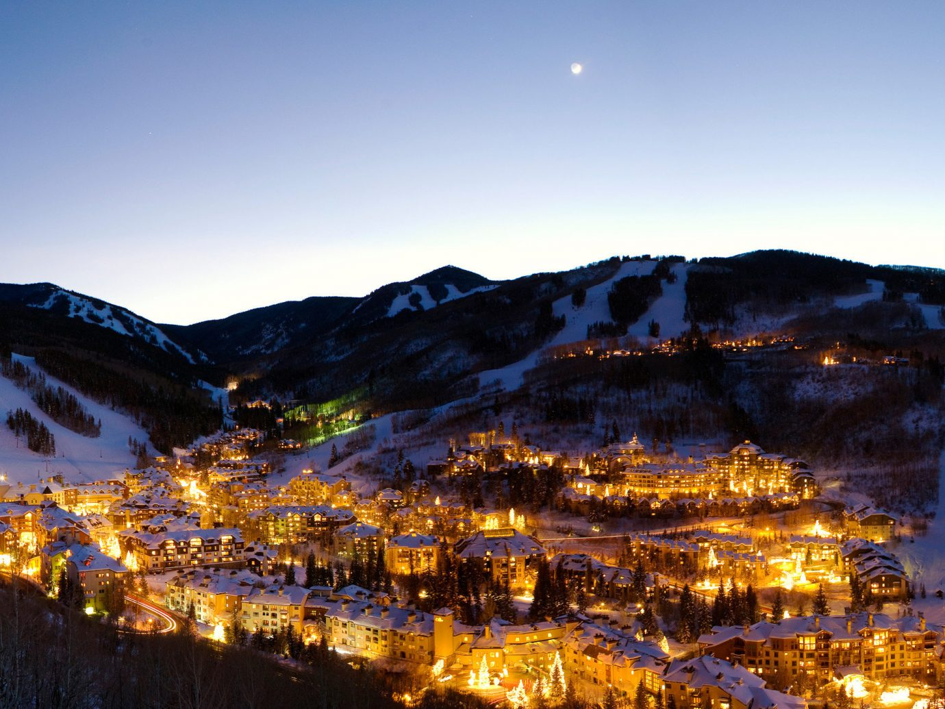 Town lit night in Beaver Creek
