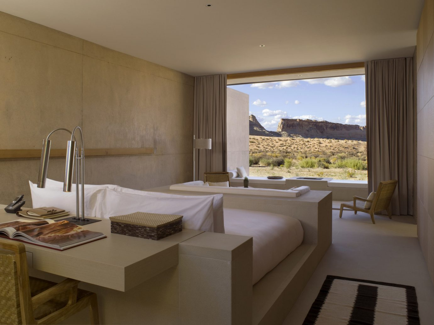 Hotel room with view of desert scape at Amangri