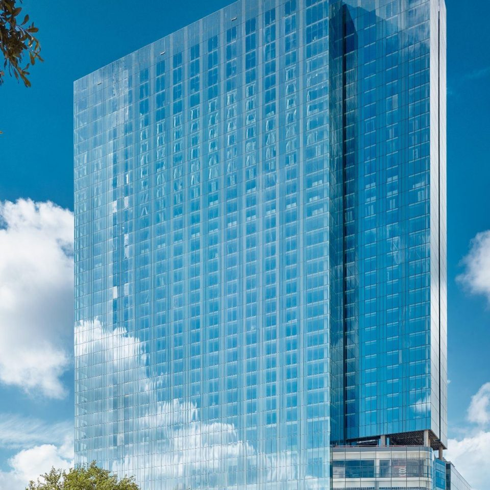 Exterior of a mirror covered Fairmont Austin