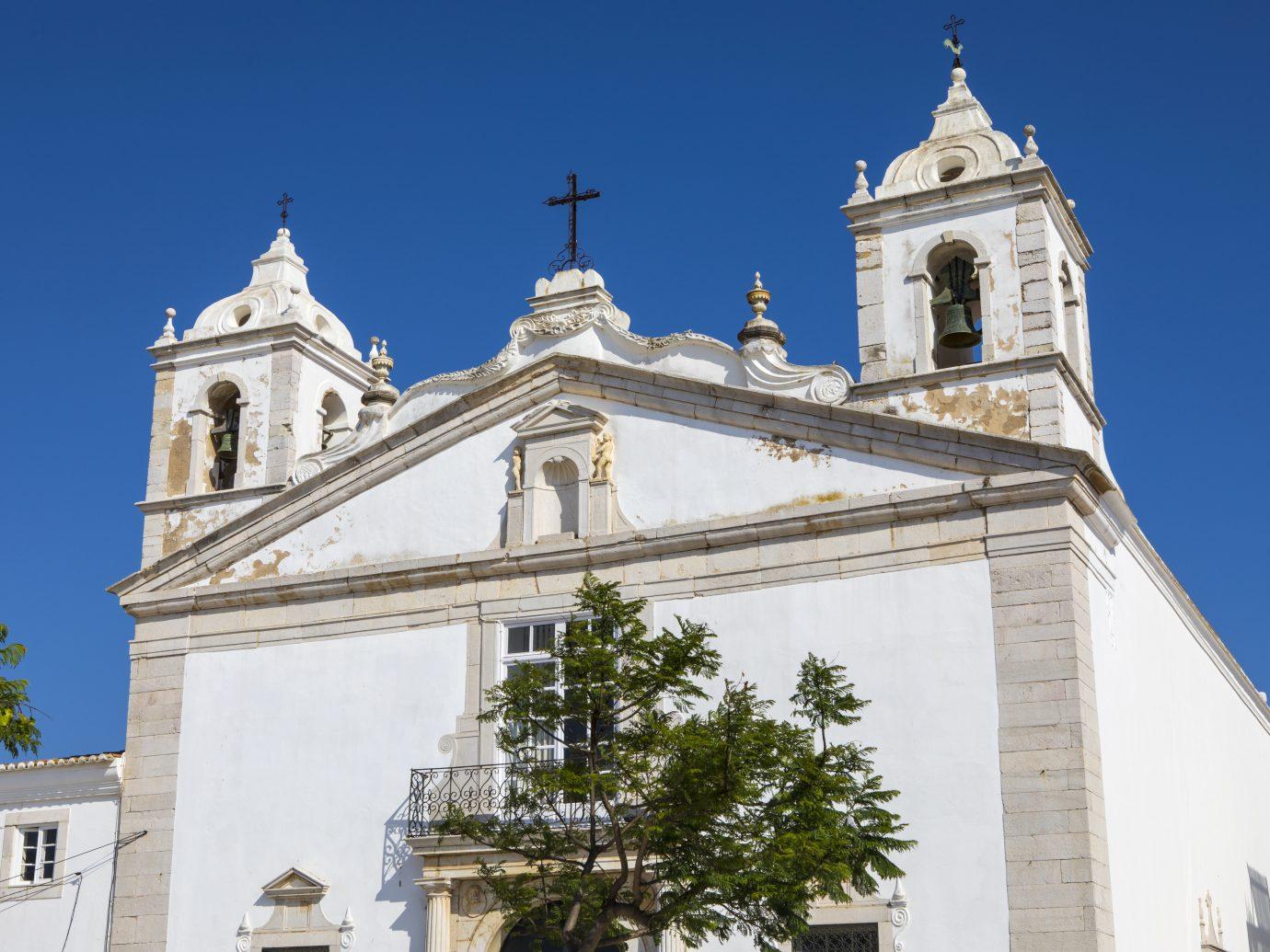 The exterior of Igreja de Santa Maria, or Church of Santa Maria, in the historic old town of Lagos in Portugal.