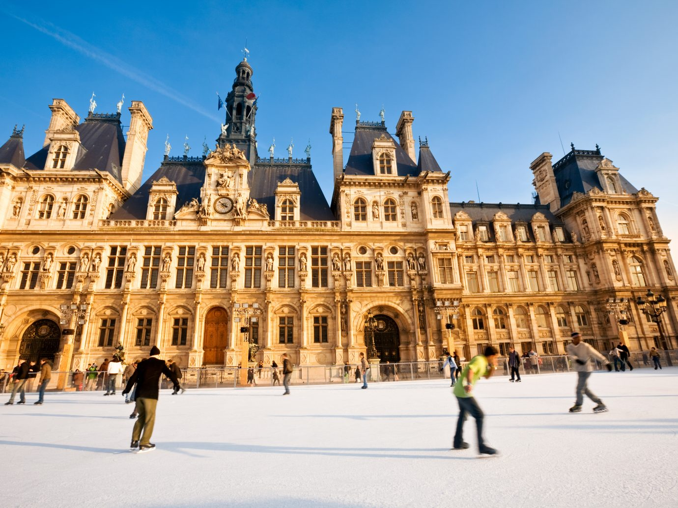 People skating at Paris Town Hall, France