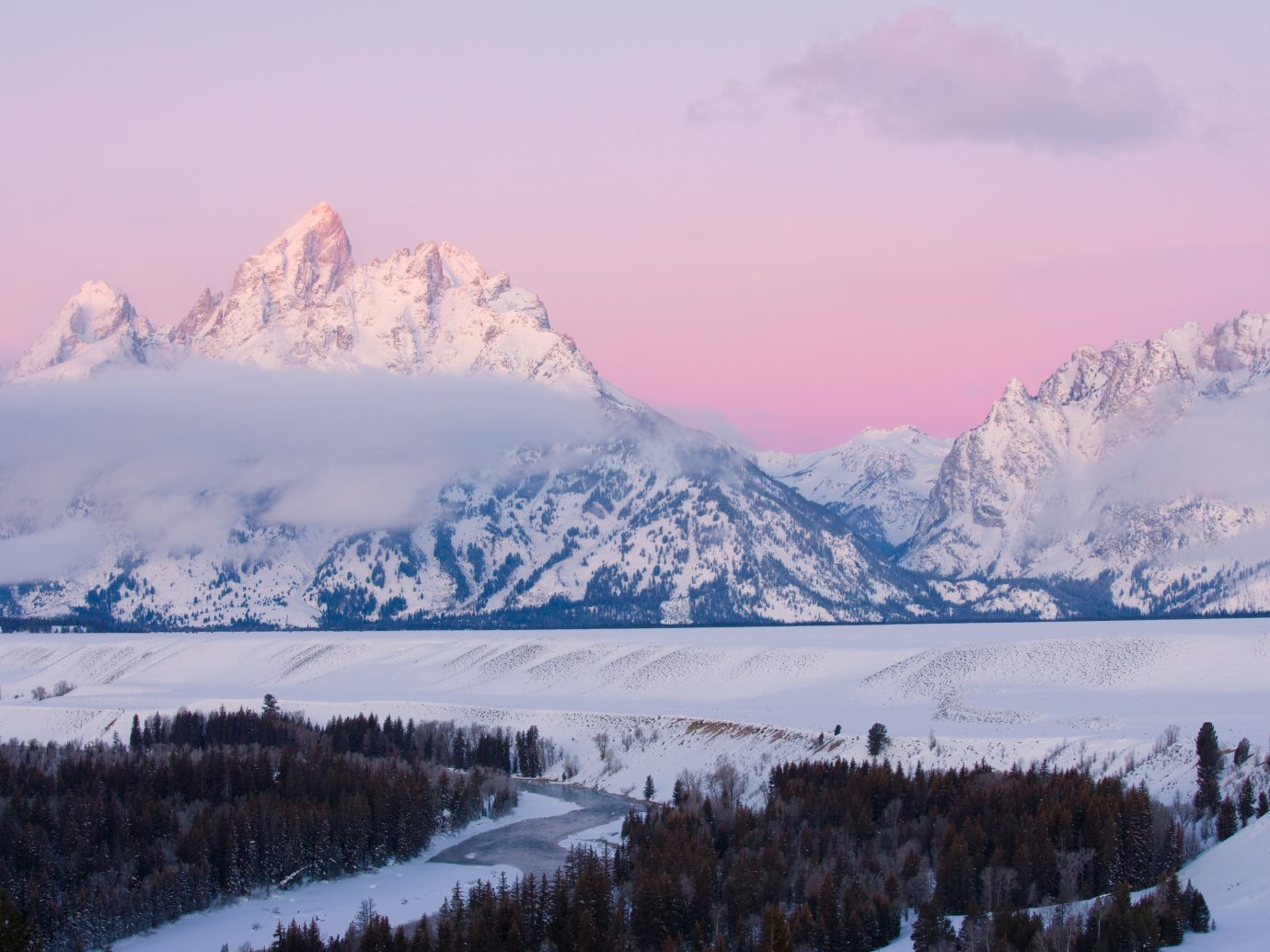 """Teton mountain range at sunrise in winter snow. Snake River overlook, Grand Tetons National Park, Wyoming MORE TETON MOUNTAINS"""