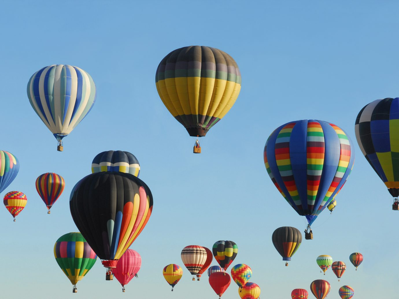 """Colorful hot air balloons flying on a bright, sunny morning."""