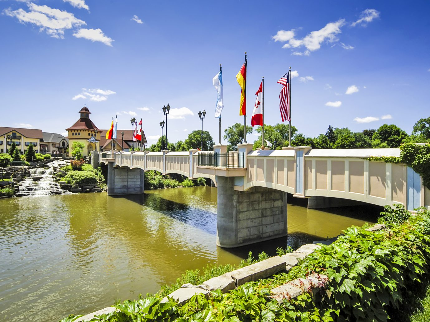 The International Bridge over the river Cass in Frankenmuth MI