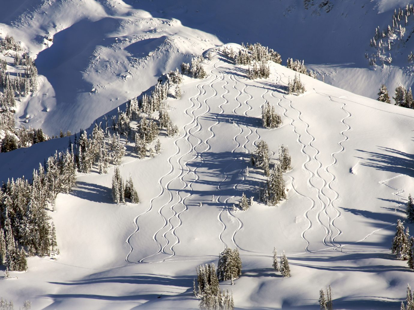 Backcountry skiers leave their mark in Grand Teton National Park.
