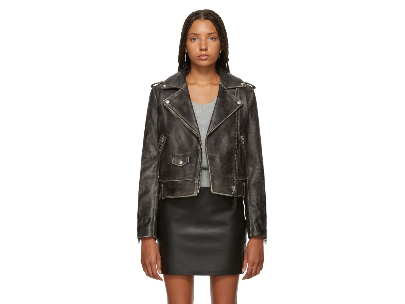 Mackage Black Leather Distressed Baya Jacket