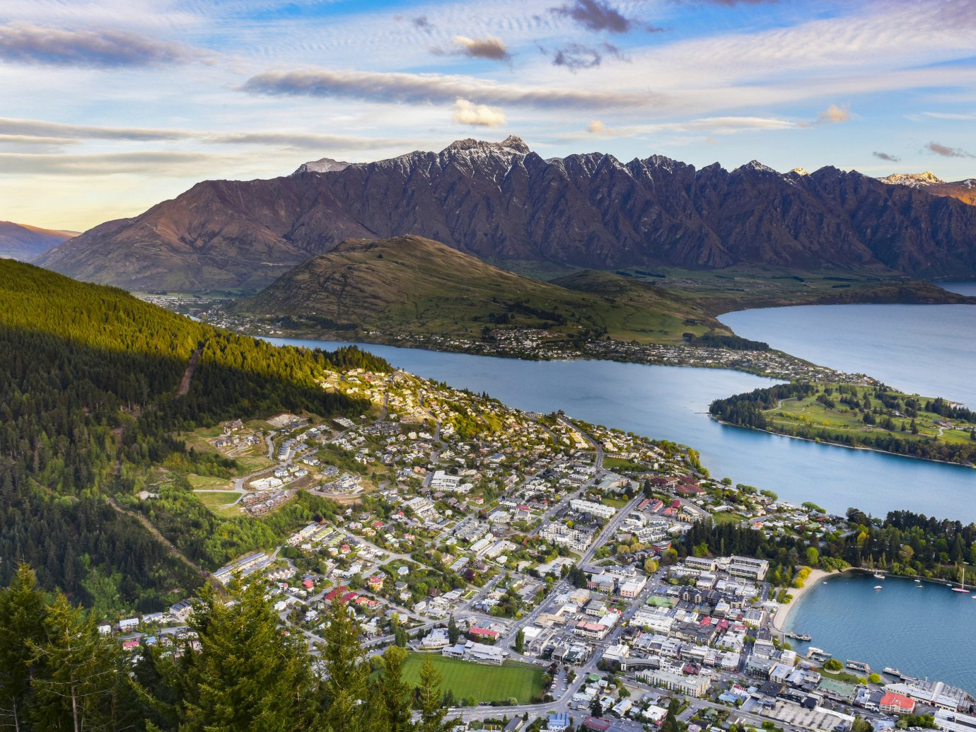 Aerial shot of a bay city in New Zealand