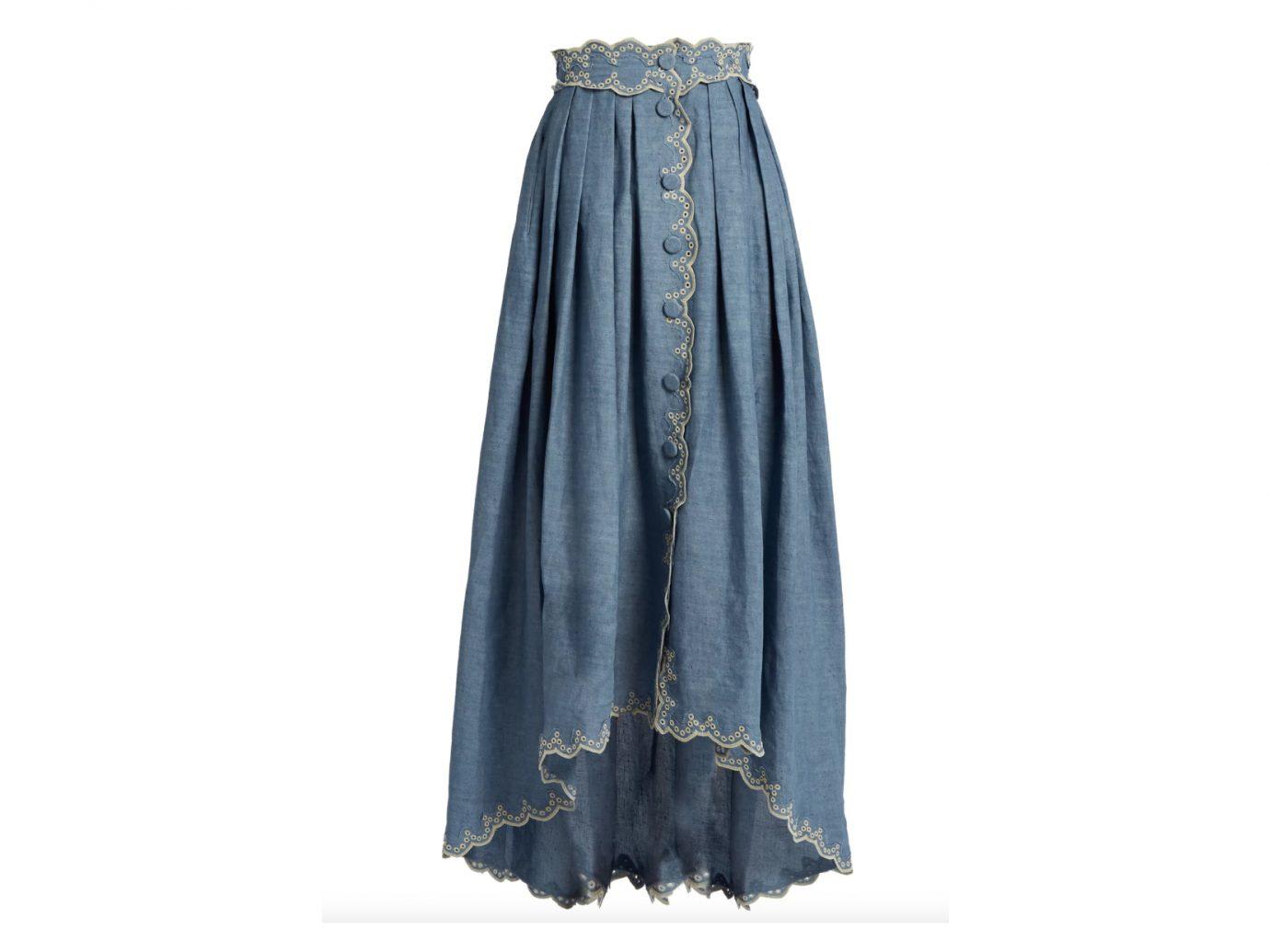 Broderie-anglaise linen-blend skirt